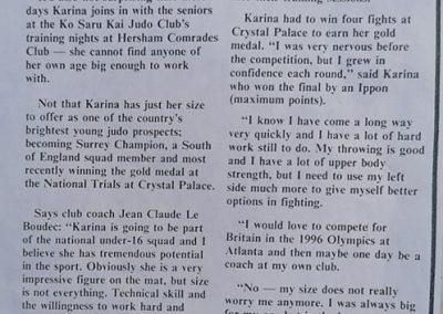 Karina Bryant Judo Champio - News Article